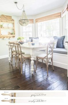 New England Farmhouse Neutral Paint Color Scheme | This sunny farmhouse breakfast nook is painted with Benjamin Moore Gray Owl with Simply White Trim.