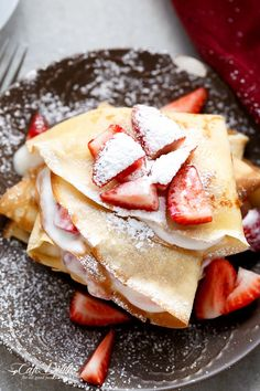 Macerated Strawberries and Cream Crepes | http://cafedelites.com