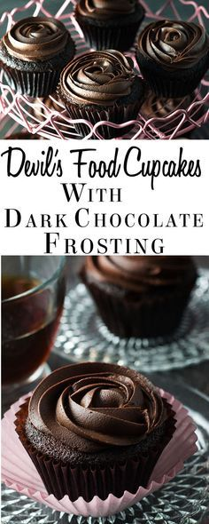 Indulge yourself with this recipe for Devil's Food Cupcakes with Dark Chocolate Frosting. Perfect for Valentine's Day or any celebration. These deep chocolate cupcakes with a dark chocolate, cream cheese topping are light yet wonderfully chocolaty. Dark Chocolate Frosting, Chocolate Frosting Recipes, Chocolate Desserts, Chocolate Cream, Chocolate Muffins, Dark Chocolate Recipes, Chocolate Icing For Cupcakes, Chocolate Cake, Chocolate Cupcakes Decoration
