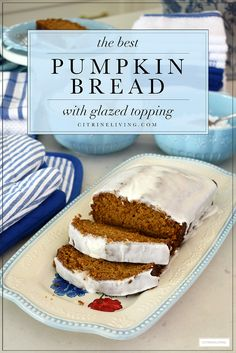 Delicious and moist pumpkin bread with glazed topping Best Pumpkin Bread Recipe, Moist Pumpkin Bread, Pumpkin Recipes, Bread Recipes, Baking Recipes, Dessert Recipes, Desserts, Fall Baking, Glaze