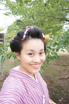 @Kyoto 京都 Nihon-gami ~traditional hairstyle of Japan ~ wearing kimono and obi. 自分で日本髪っぽく結っています。全て地毛です。I did my hair in Japanese style! It does look so KaWaIi !  →http://ameblo.jp/ann-choo-sun-life/