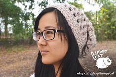 Crochet Slouchy Hat in Oatmeal Heather