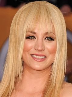 Kaley Cuoco wispy bangs: http://beautyeditor.ca/2014/05/22/best-bangs-for-round-face/