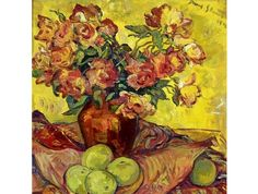 View Still Life of Roses and Apples By Irma Stern; Oil on canvas; Access more artwork lots and estimated & realized auction prices on MutualArt.