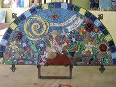 Mosaic garden mural using @Santa Theresa Tile Works handmade tile