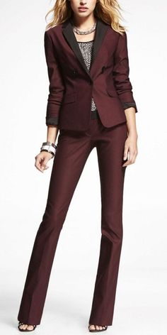Total red and black fancy pants and jacket outfit is $218 at EXPRESS