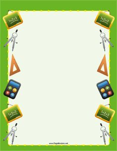 The math pictures on this printable green border are school supplies such as…