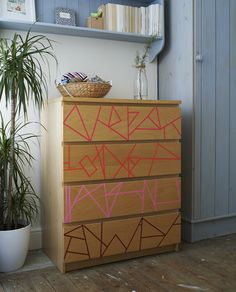Use washi tape to update plain furniture.