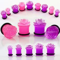 Pair of Pink Acrylic Carved Rose Flower Plugs Ear Gauges 2G 0g 00g 7 16 1 2   eBay