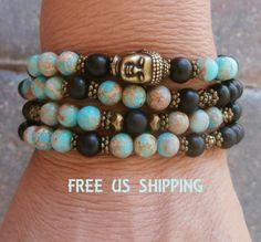 Terra Jasper Buddha 108 Mala Meditation wrap bracelet or necklace, ebony Prayer beads, Yoga meditation bracelt, Reiki Charged, free shipping...