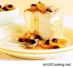 Art of Cooking – Home cooking recipes – Orange Angel Food Cake With Fruit Compote Dessert Recipe