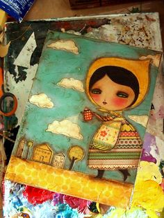 Adorable mixed media pieces by Danita. Would love this in my daughters room