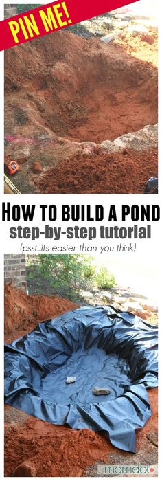 How to Build a Pond and Waterfall - perfect for your Front Yard Garden. Step by Step Pond Tutorial to make it easy, everything to purchase, mistakes to avoid and more! pond How to Build a Pond and Waterfall Backyard Water Feature, Ponds Backyard, Garden Ponds, Backyard Ideas, Back Yard Pond Ideas, Water Garden, Backyard Waterfalls, Cozy Backyard, Backyard Projects
