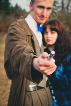 Doctor Who themed engagement shoot. I can't decide if this is awesome or really, really, reallllly weird.
