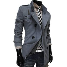 Winter Stylish Korean Double Breasted Design Slim Men Coat Jacket from Oh Boy Style. Saved to Pullover & Jacket Style Casual, Men Casual, My Style, Casual Blazer, Sharp Dressed Man, Well Dressed Men, Mens Attire, Cool Jackets, Look Cool