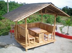 Hut Design in the Philippines Cottage and Family Size Nipa Hut for your Resort and beachesCottage and Family Size Nipa Hut for your Resort and beaches Bahay Kubo Design Philippines, Garden Huts, Bamboo House Design, Philippines Beaches, Philippines Cebu, Hut House, Gazebos, Bamboo Structure, Bamboo Construction