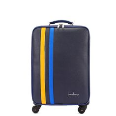 157.70$  Buy now - http://ali89t.worldwells.pw/go.php?t=32666101582 - High quality 22 inch blue pu leather travel luggage for male and female,korea fashion style luggage bags on wheel,FGF-0005-22