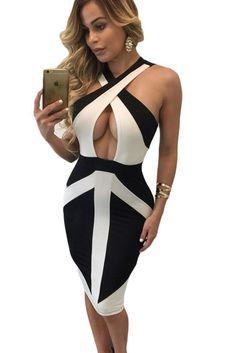Black White Colorblock Cross Front Bodycon Dress