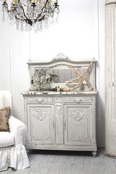 ❥ antique French marble server with mirror *be still my heart*...