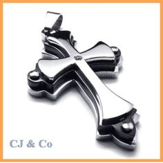 316L Stainless Steel Cross CZ Men Pendant Necklace - $52nok (free)