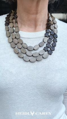 Thanks heidicareyshop for this post.Gemstone Necklace jewelry by Heidi Carey.Add organic colors and fall tones to your autumn outfits with this versatile piece. The necklace can be worn three different way, as a single, double, or triple stran# Carey Big Jewelry, Chunky Jewelry, Fashion Jewelry Necklaces, Handmade Necklaces, Beaded Jewelry, Jewelry Design, Beaded Bracelets, Unique Jewelry, Bib Necklaces