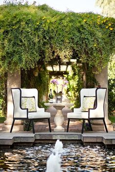 garden + pool + chairs + wine = <3