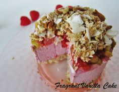 Mini Raw Raspberry Rhubarb Streusel Topped Cheesecakes | Fragrant Vanilla Cake