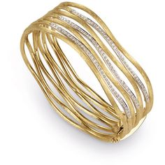 Jaipur Link Gold Diamond Seven Row Cuff ❤ liked on Polyvore featuring jewelry, bracelets, bangle cuff bracelet, diamond bangle bracelet, yellow gold bangle bracelet, bangle bracelet and hinged bracelet