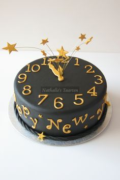 New Years countdown clock cake.  I absolutely love it! The baker used  FMM Large Number tappits and FMM Uppercase Funky Alphabet tappits, both of which are available at Amazon and other vendors.