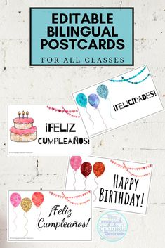 It's such a nice touch to send postcards to your students to wish them a happy birthday and to celebrate other occasions. These beautiful postcards are completely editable, although they've been created and designed for secondary Spanish classes. They're available in Google Drive, so they'll be easy to customize to your needs and student population. Make your middle school and high school students feel welcome in your class! Click through now to read more about what's included and to buy… Spanish Teacher, Spanish Classroom, Teaching Spanish, Study Spanish, Spanish 1, Spanish Games, Spanish Activities, Postcard Template, Postcard Design