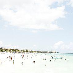 Beach Photography 8x8 ocean art beach photograph people beach photo beach house modern fine art colorful turquoise