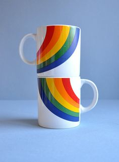 Rainbow mugs!  Remember these? You got these when someone sent you a FTD arrangement. Mother still has her's.