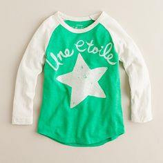 Baseball tee with script and star from the Crew.