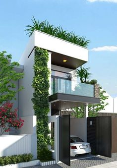 pretty small exterior house design architecture ideas can find Small house design and more on our pretty small exterior house design architecture ideas 27 Narrow House Designs, Modern Small House Design, Small House Exteriors, Small Modern Home, Minimalist House Design, Minimalist Interior, Minimalist Bedroom, 3 Storey House Design, Bungalow House Design
