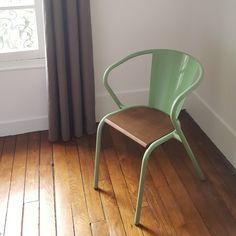 Chaise de bistrot portugais en métal et bois Gonçalo au style vintage - Otoko