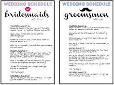 Wedding Itinerary For Bridal Party   Wedding Ideas