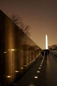 Vietnam War Memorial Wall of Names & Washington Monument ~ Washington DC
