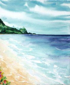Tunnels-Beach-Kauai-Signed-Watercolor-Art-By-Mercedes-Maza-Hawaiian-Artist