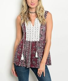 Love this Wine & Ivory Arabesque Notch Neck Top - Women on #zulily! #zulilyfinds