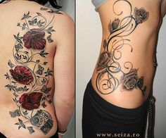 Examples of big-sized floral tattoos. This image doesn't belong to seiza.ro and is displayed for inspirational purposes only. For our collection of original tattoo designs visit the 'Original Designs for Tattoos' section.