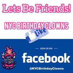 NYC Birthday Clowns: New Yorks favorite kids party entertainment! We come to you with two entertainers face painting balloon twisting cotton candy music magic & more. NYCBirthdayClowns.com Facebook Birthday, Facebook Party, Birthday Clown, Clown Party, Balloon Painting, Love My Kids, Balloon Animals, Party Entertainment, Best Part Of Me