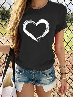 NEW Women Cotton Tops T Shirt Casual Loose Love Heart Ladies Long Sleeve Blouse