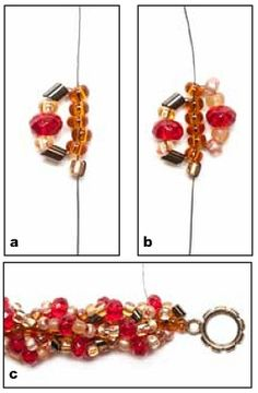Simple spiral with a larger bead mixed into loop ~ Seed Bead Tutorials