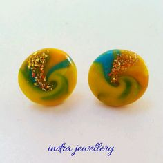 polymer clay swirl earrings, polymer clay studs, swirl earrings, multicolor earrings by indrajewellery on Etsy Swirls, Studs, Polymer Clay, Circles, Random Things, Creative, Earrings, Handmade, Etsy