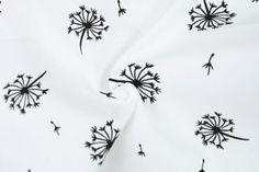 Popeline-Baumwollstoff - Pusteblümchen - Schwarz/Weiß