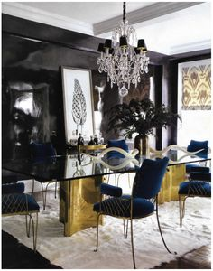 Brass Table with Blue Velvet Chairs