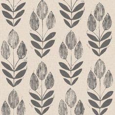Scandinavian Black Block Print Tulip - Wallpaper (As seen in The chicken house in Fixer upper)