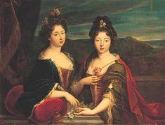1693 Marie de Lorraine (1674-1724) and her sister Charlotte de Lorraine (1678-1757) by Nicolas Fouché (auctioned by Christie's) | Grand Ladies | gogm