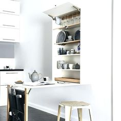 """nicest-interiors: """"Folding kitchen table with cabinet space - 25 Folding Furniture Designs for Saving Space """" Folding Furniture, Space Saving Furniture, Home Furniture, Furniture Design, Unique Furniture, Cheap Furniture, Table Furniture, Furniture Ideas, Studio Kitchen"""