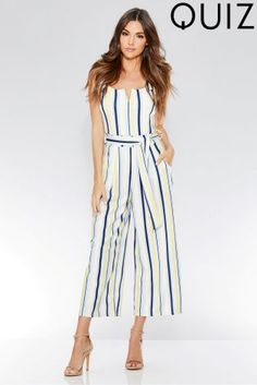 Buy Quiz Stripe Tie Belt Jumpsuit from the Next UK online shop